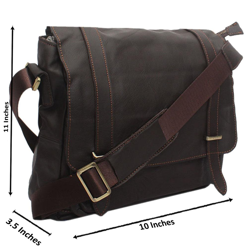 Brown Kaza Leather Messenger Bag