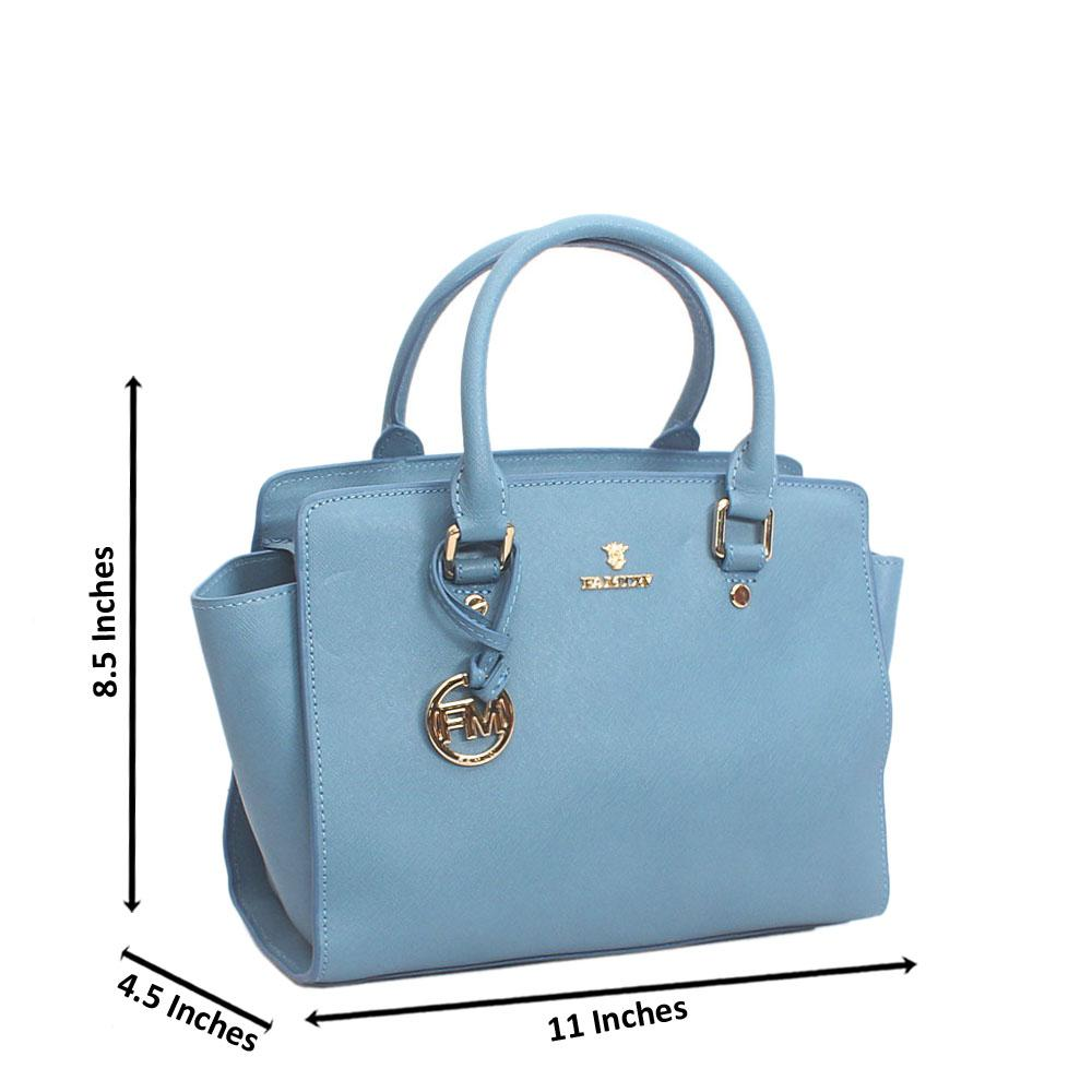 Elegant Sky Blue Top Zip Jet Tuscany Leather Tote Handbag