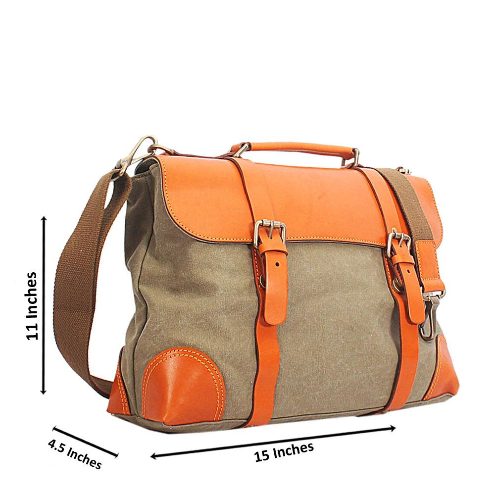 Khaki Brown Leather and Water Proof Fabric and Leather Briefcase