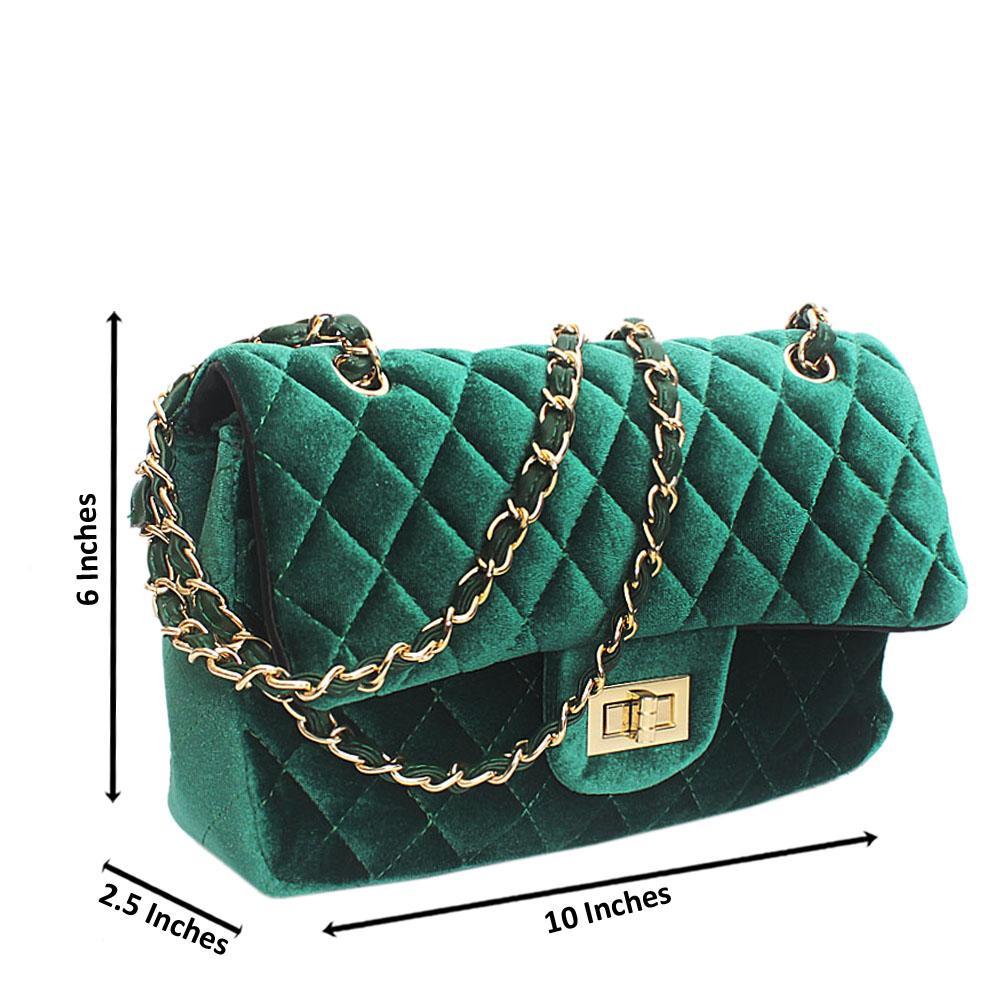 Melrose Green Corduroy Fabric Crossbody Bag
