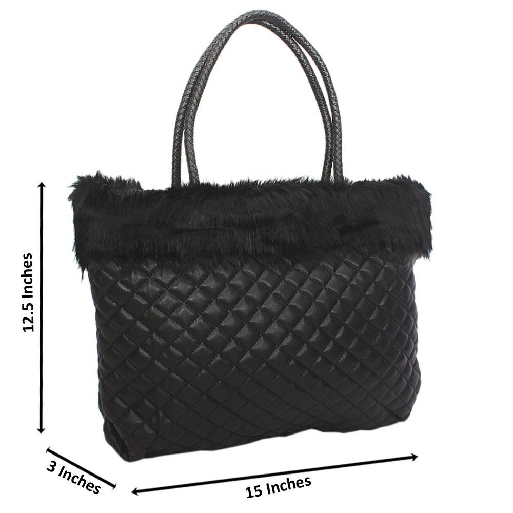 Black  Molly Fury Tuscany Leather Shoulder Handbag