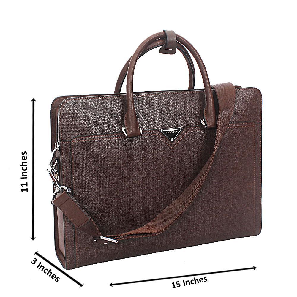 Brown Tweed Cowhide Leather Briefcase wt Back Zip