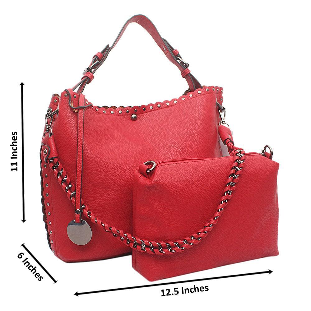 Red Artsy Medium Leather Handbag
