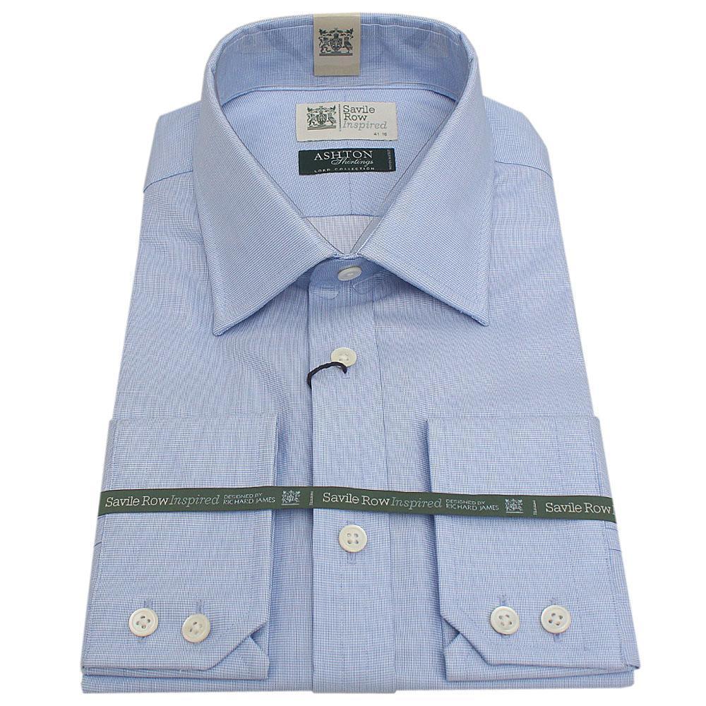 Savile Row Blue Aston Shirting L/Sleeve Men Shirt