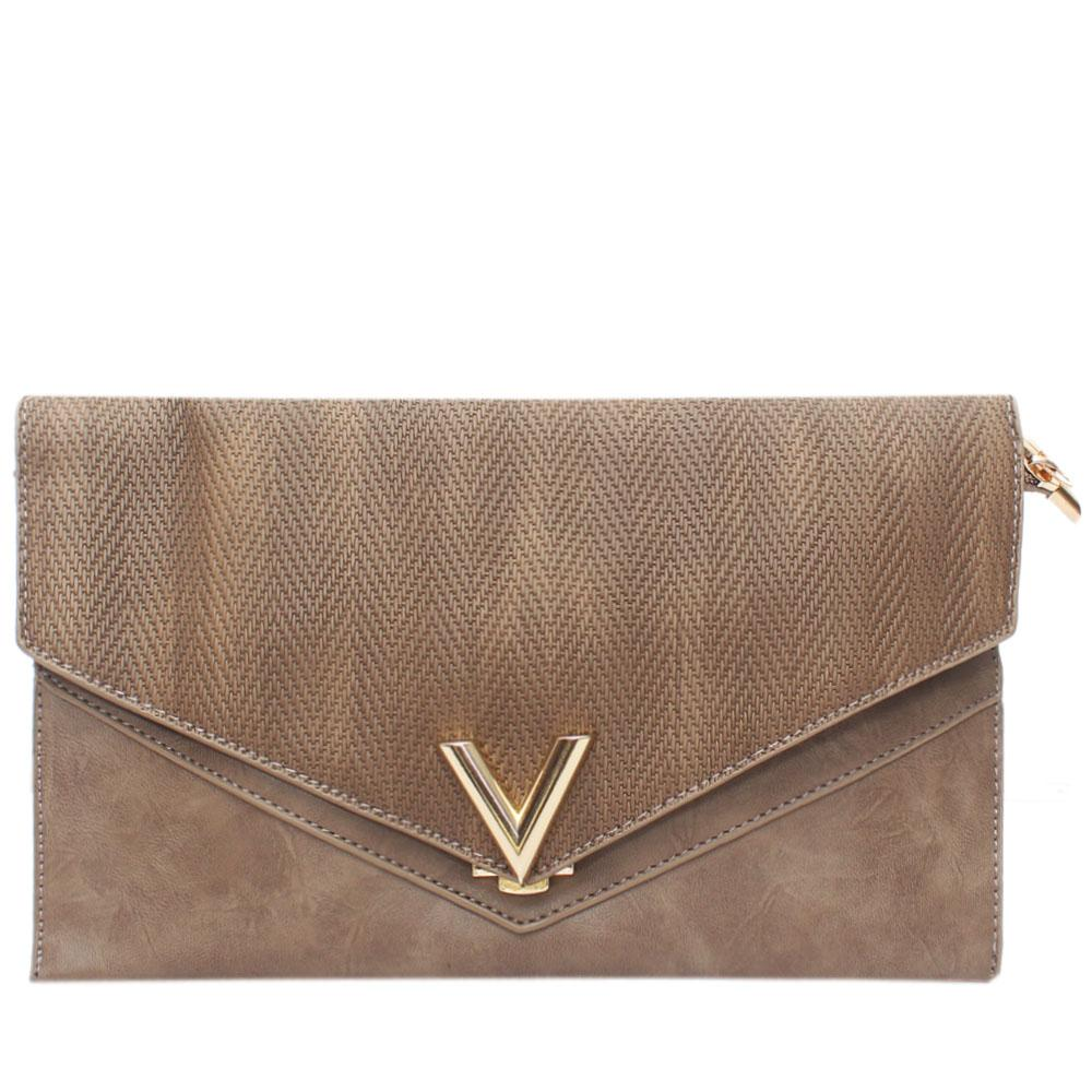 Brown Virtigo Leather Flat Purse