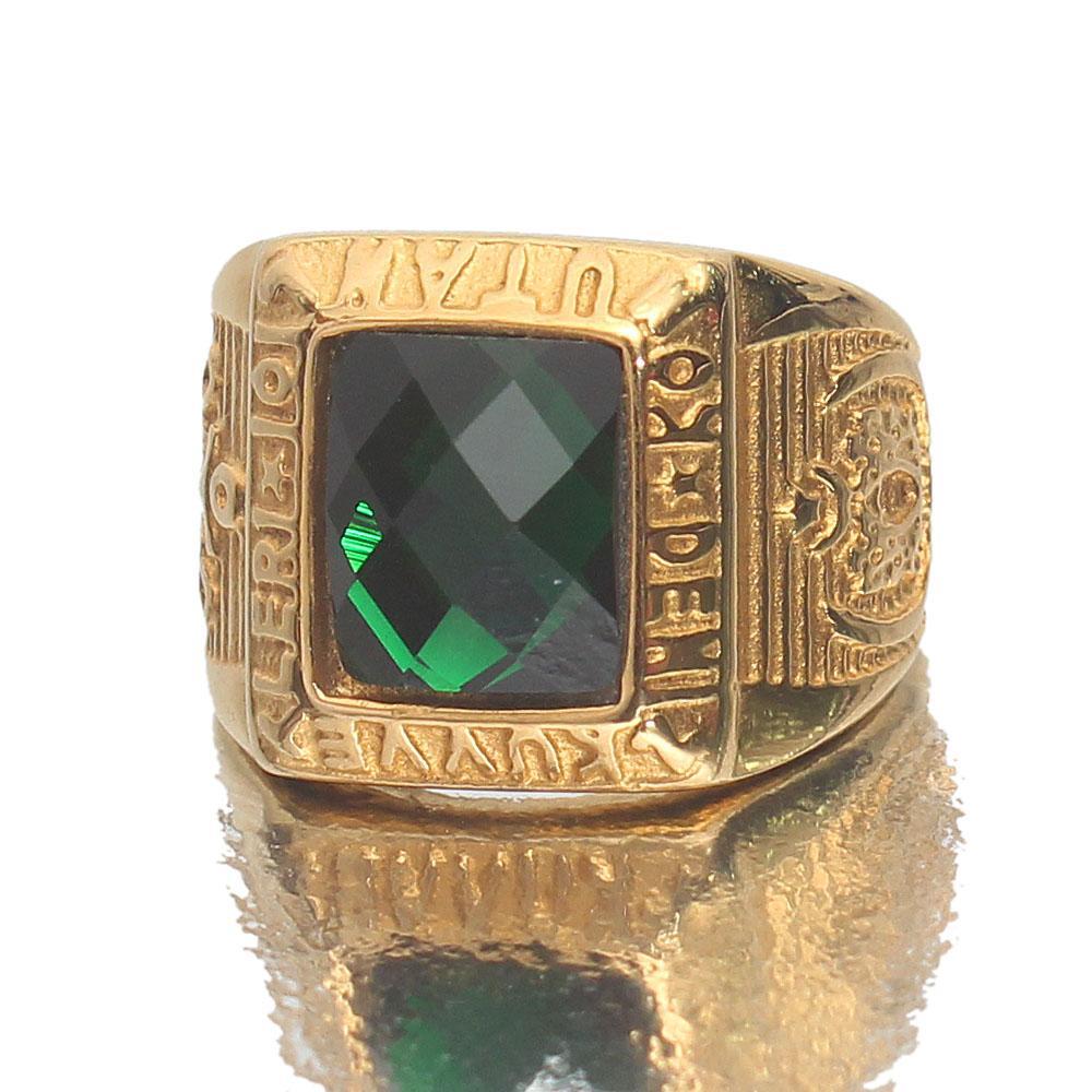 Kuvve Utah Green Stone Gold Ring