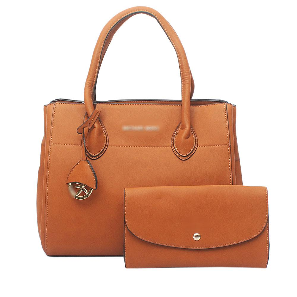 Brown Leather  Tote Bag Wt Purse