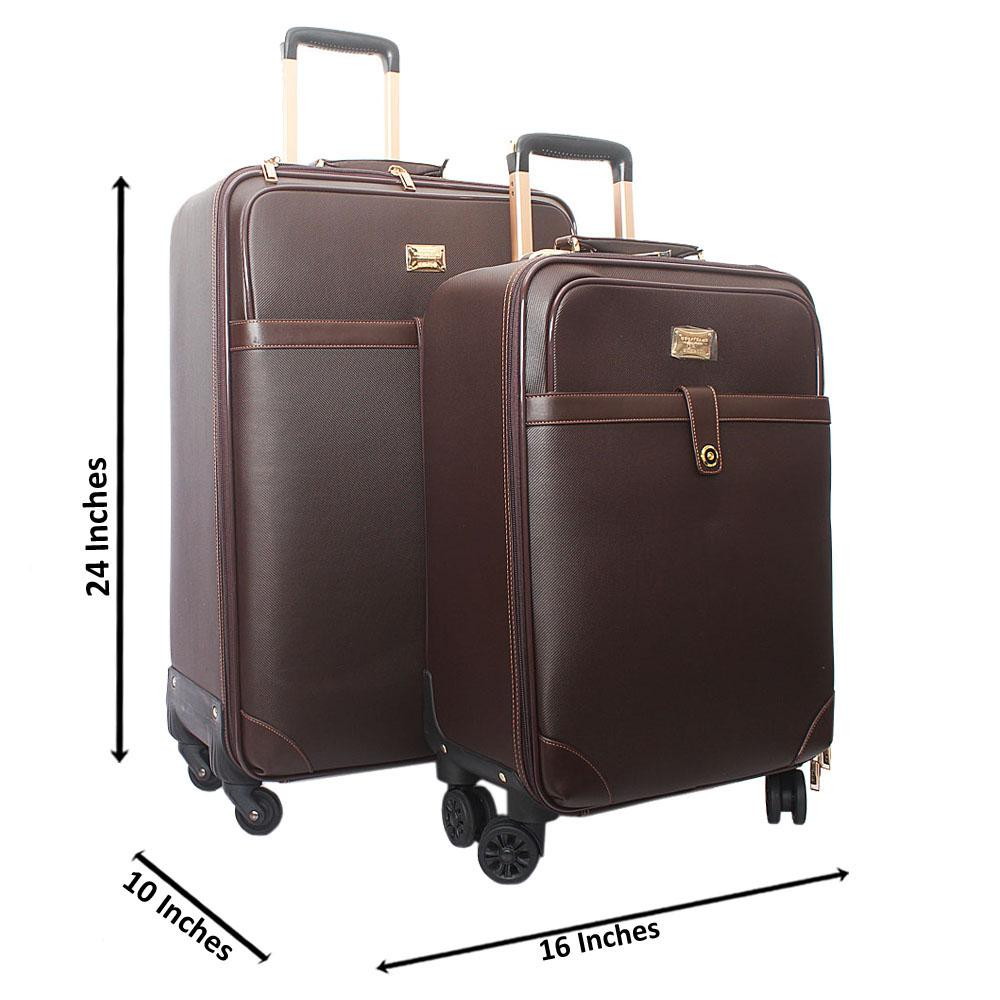 Brown Huggies Leather 24 Inch Suitcase Wt 20 Inch Pilot Suitcase Set