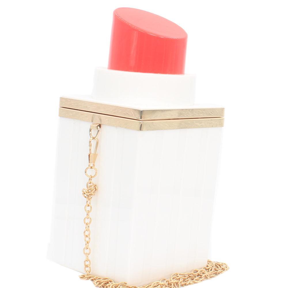 White Red Lips Stick Plastic Clutch Purse