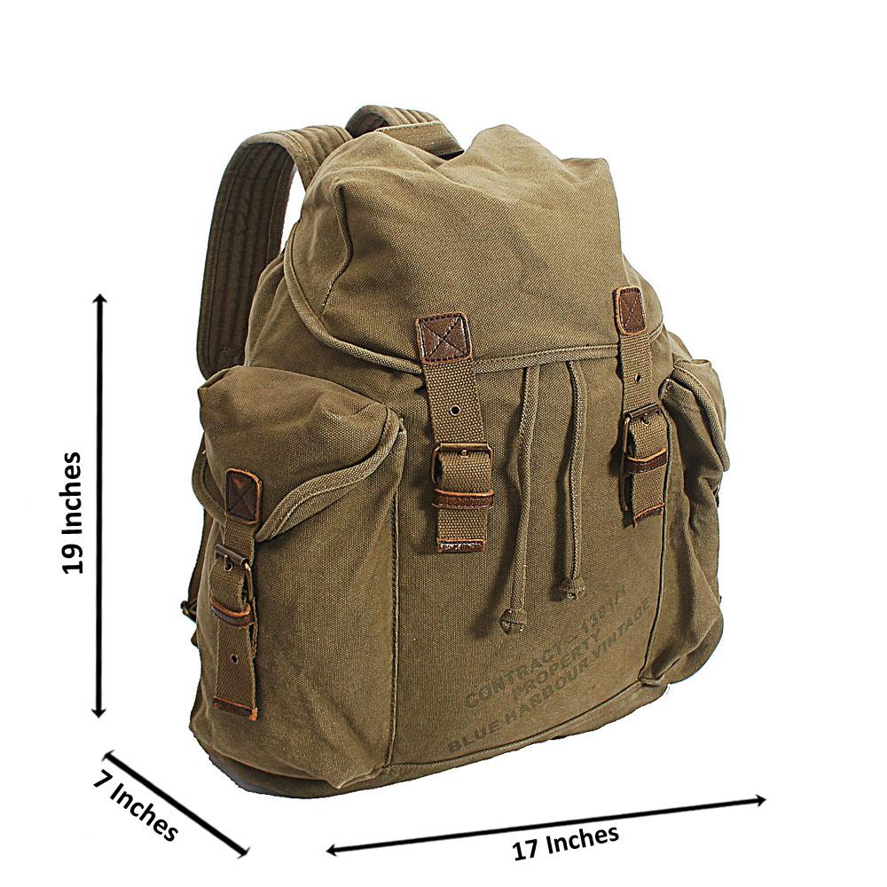 Marks & Spencer Army Green Fabric Vintage Military Backpack