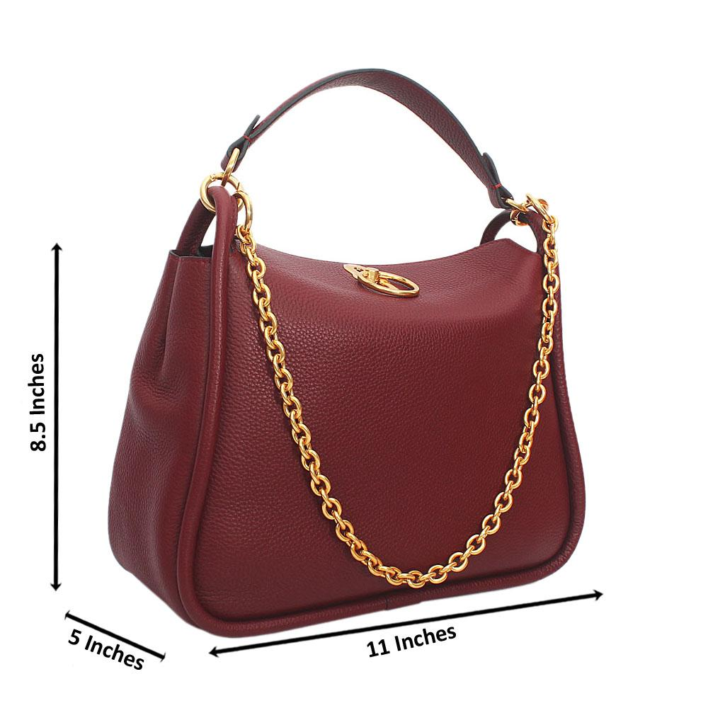 Wine Cowhide Leather Top Handle Handbag