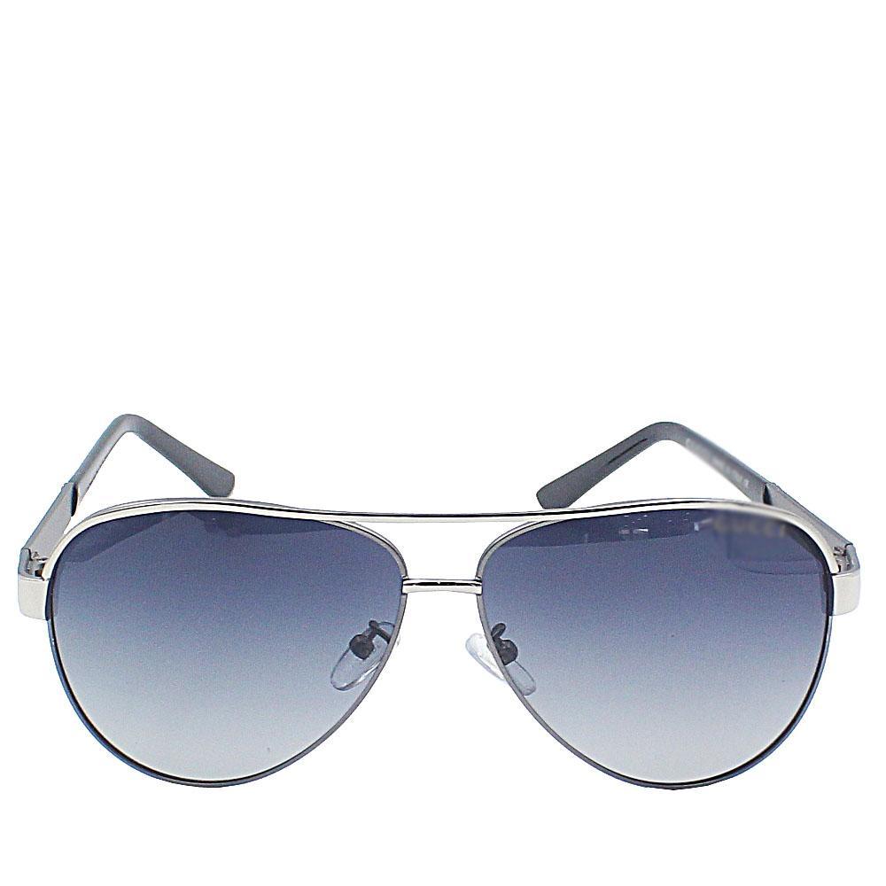 Silver Pilot Dark Lens Sunglasses