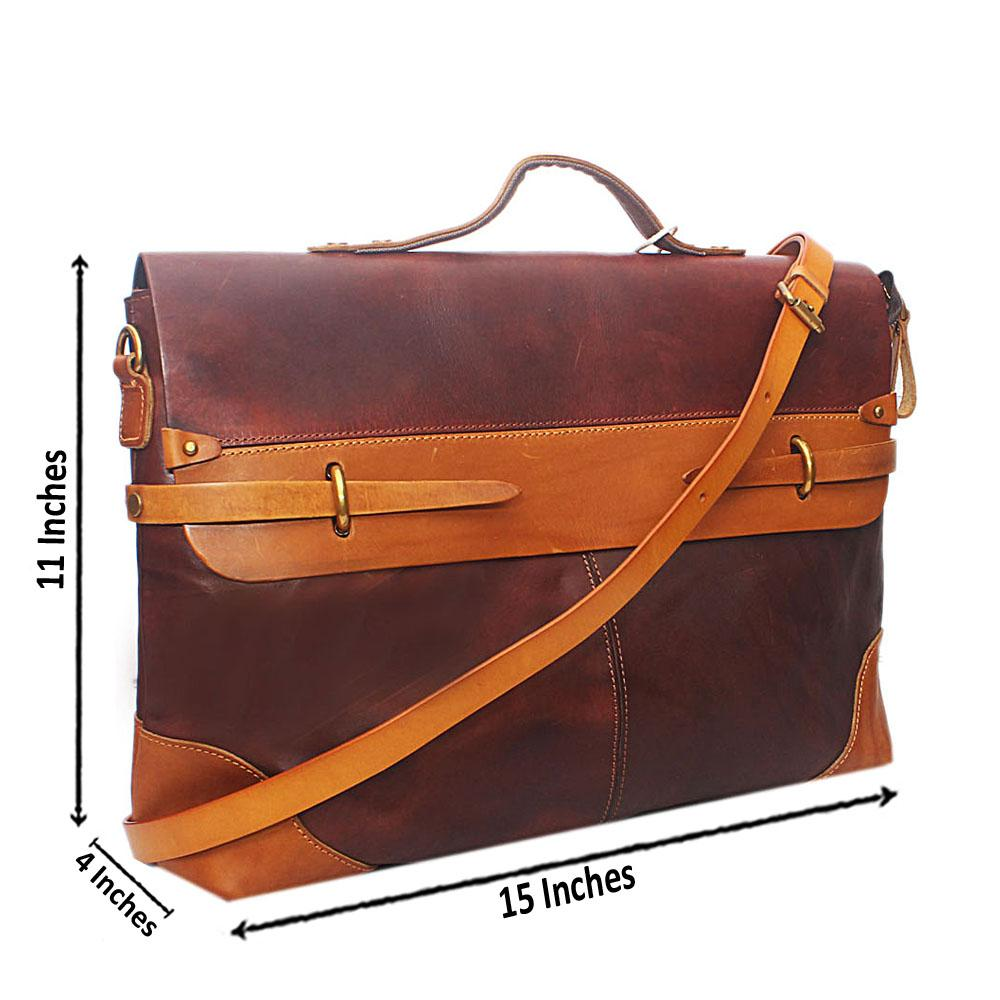 Brown Grammes Cow-Leather Briefcase