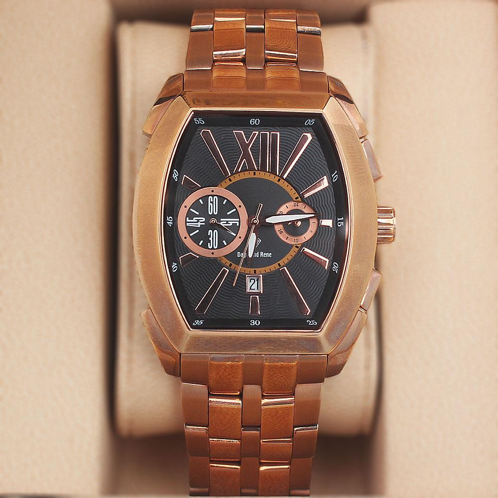 Daymond Rene 5 ATM Rose-Gold Steel Chronograph Watch