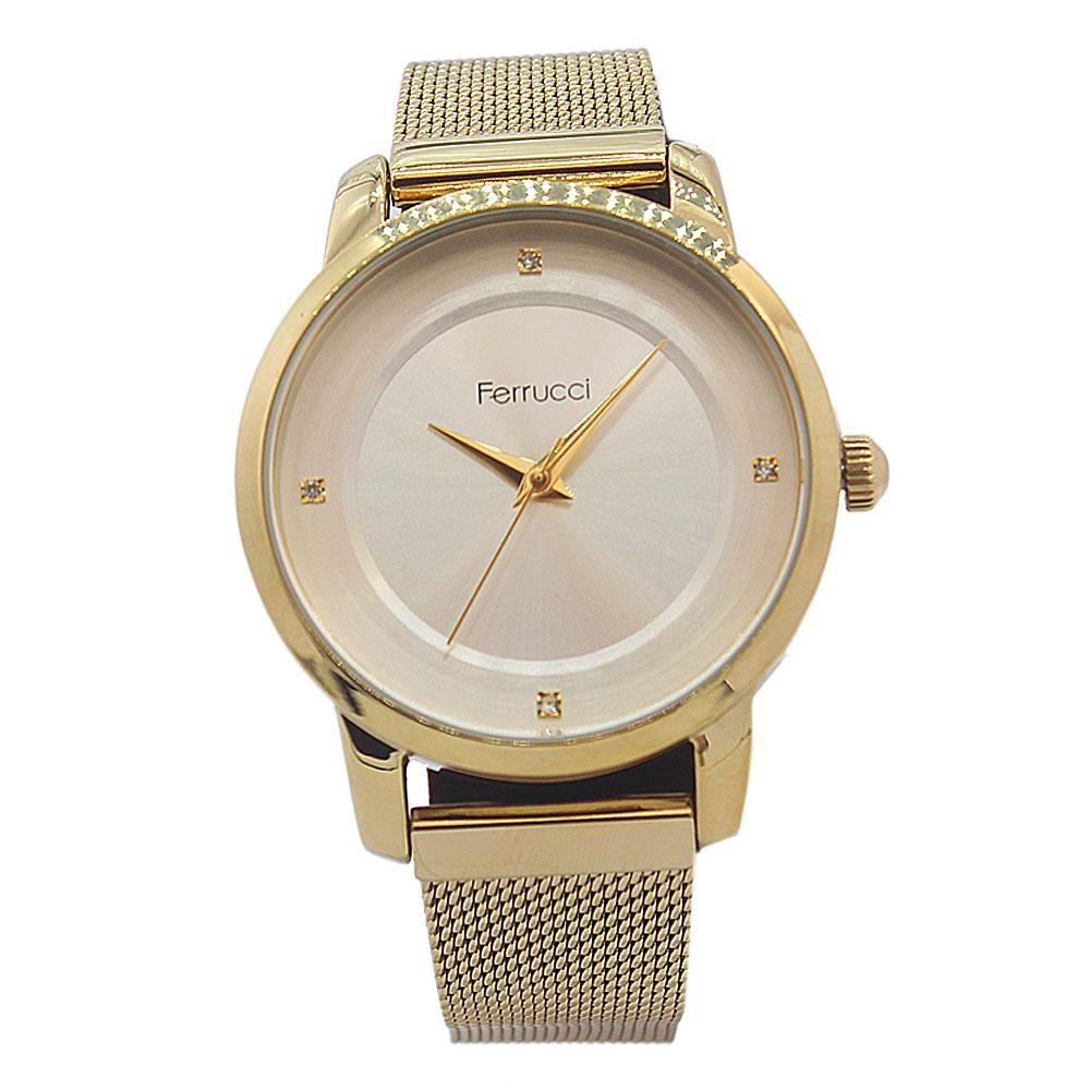 Ferrucci Gold Karstan Stainless Steel Mesh Fashion Ladies Watch