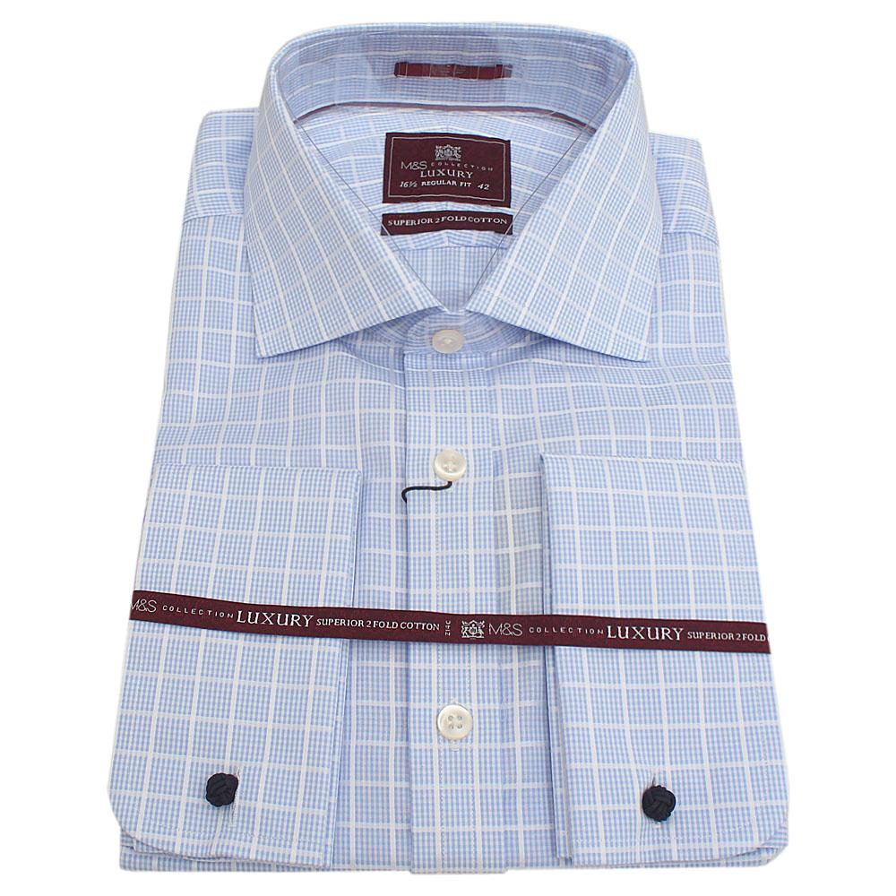 MnS-Luxury-Blue-Check-LSleeve-Regular-Fit-Men-Shirt-Wt-Cuffs-Sz-145