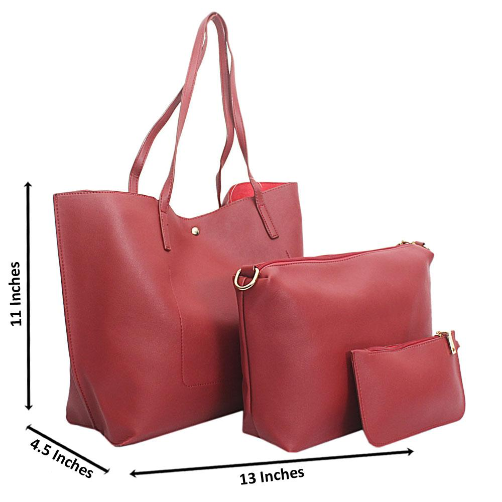 Red Leather 3 in 1 Handbag