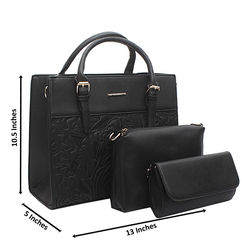 Susen Black Leather 3 in 1 Handbag