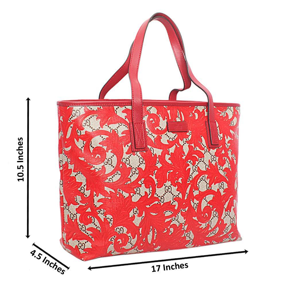 Red Floral Leather Shoulder Bag