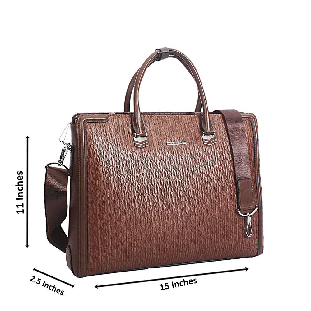 Coffee Grain Marcelo Leather Briefcase