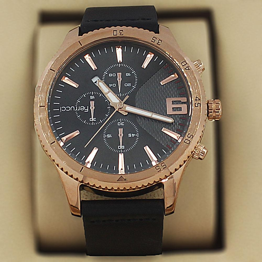 Ferrucci Charon Gold Black Leather Pilot Series Watch