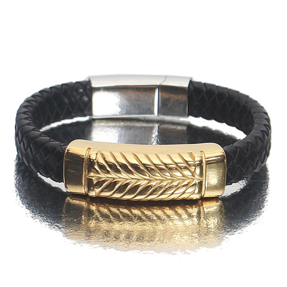 Gold Silver Black Patterned Leather Bracelet