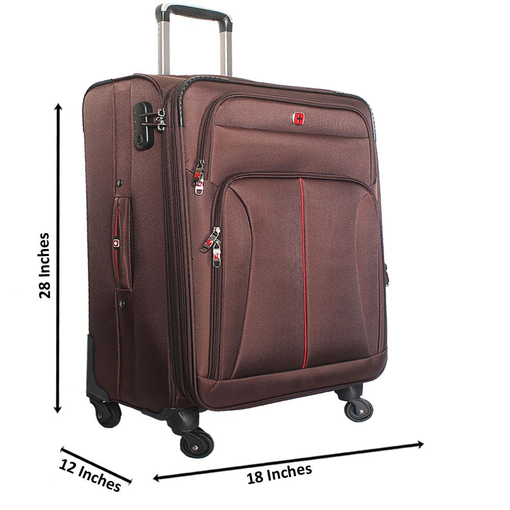 Saint Brown 28 Inch Fabric 4 Wheels Spinners Large Suitcase