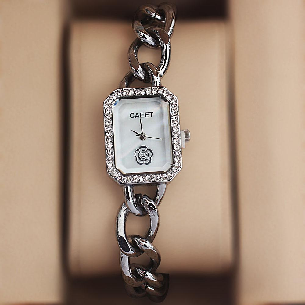 Caeet Silver Steel Crystal Studded Ladies Bracelet Watch