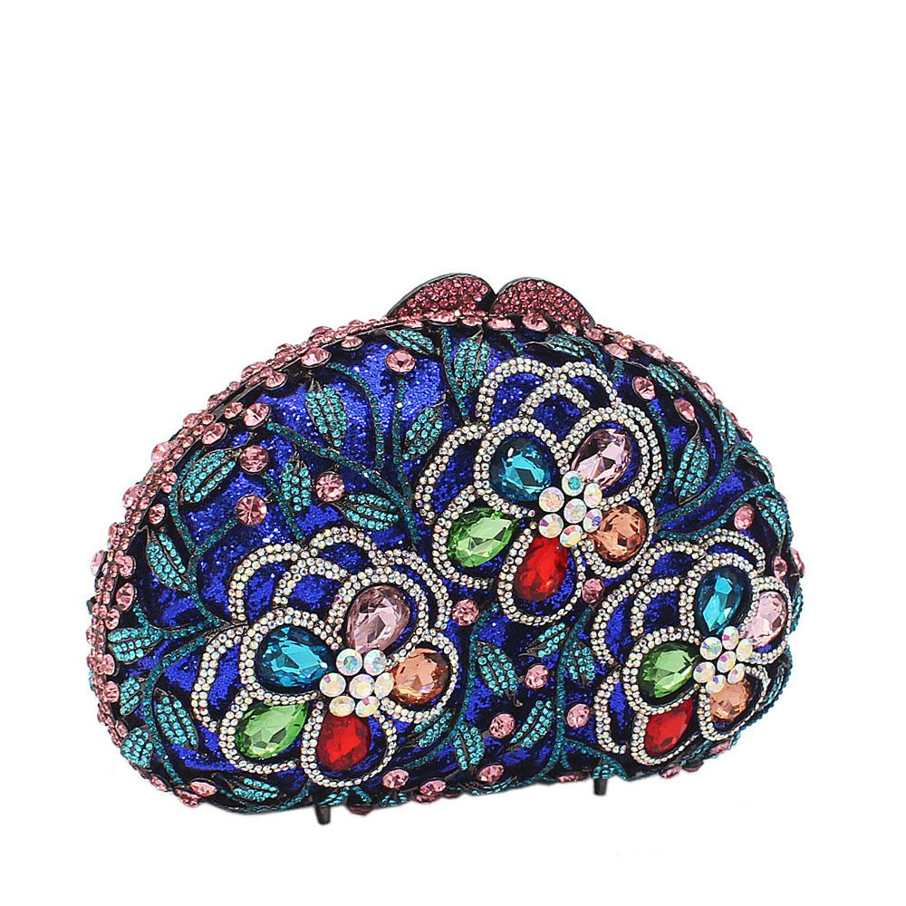 Blue Mix 3-Petals Diamante Crystals Clutch Purse