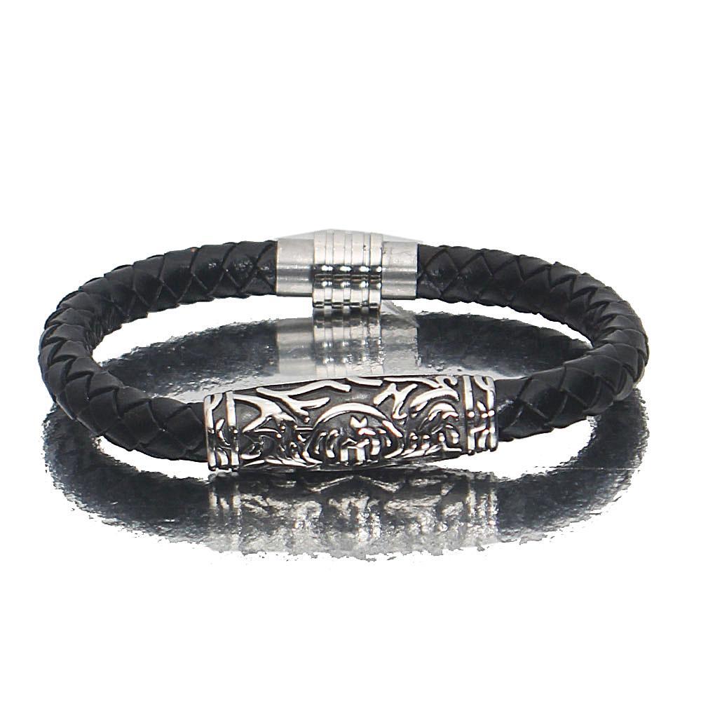 Silver Black Royal Leather Bracelet