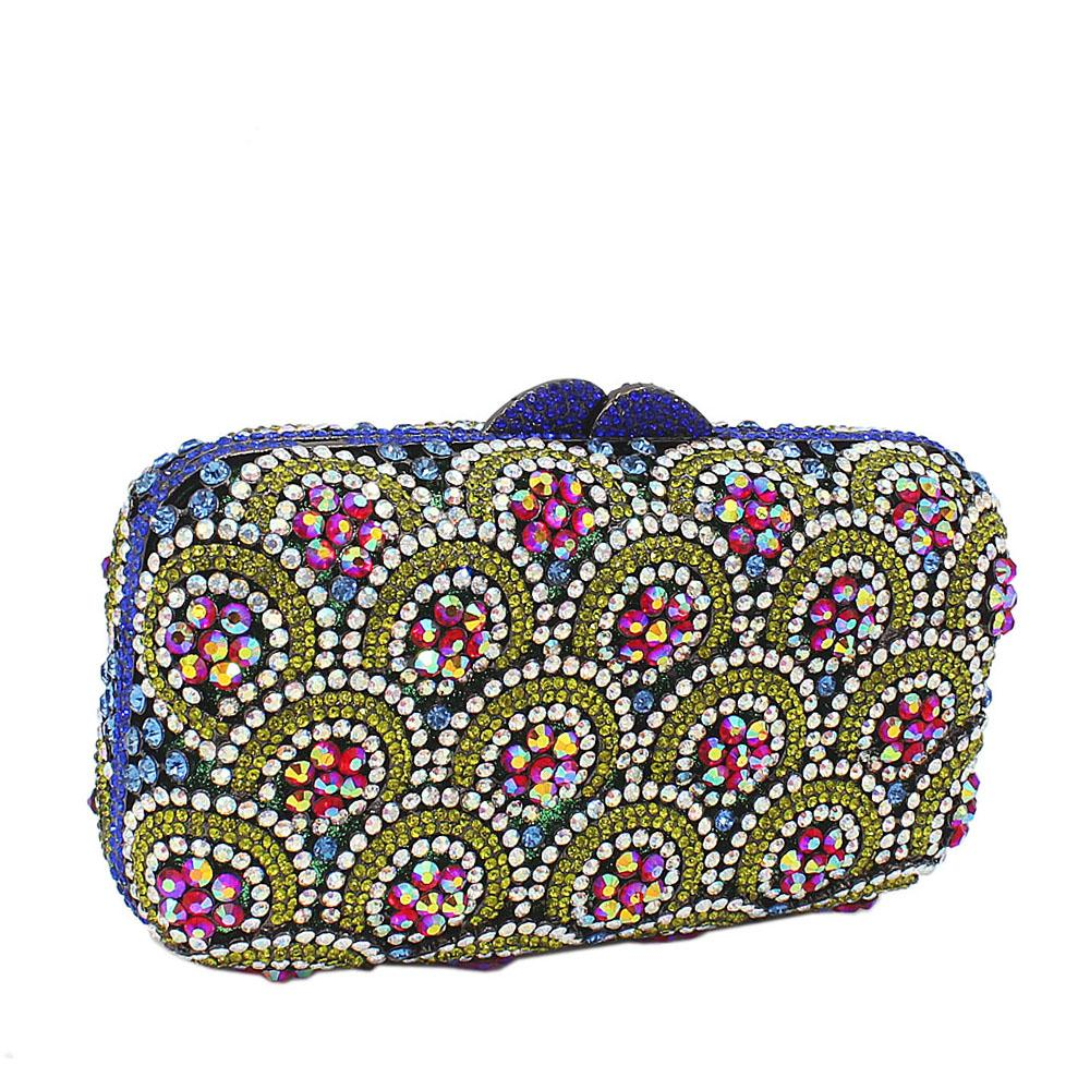 Green Mix Diamante Crystals Clutch Purse