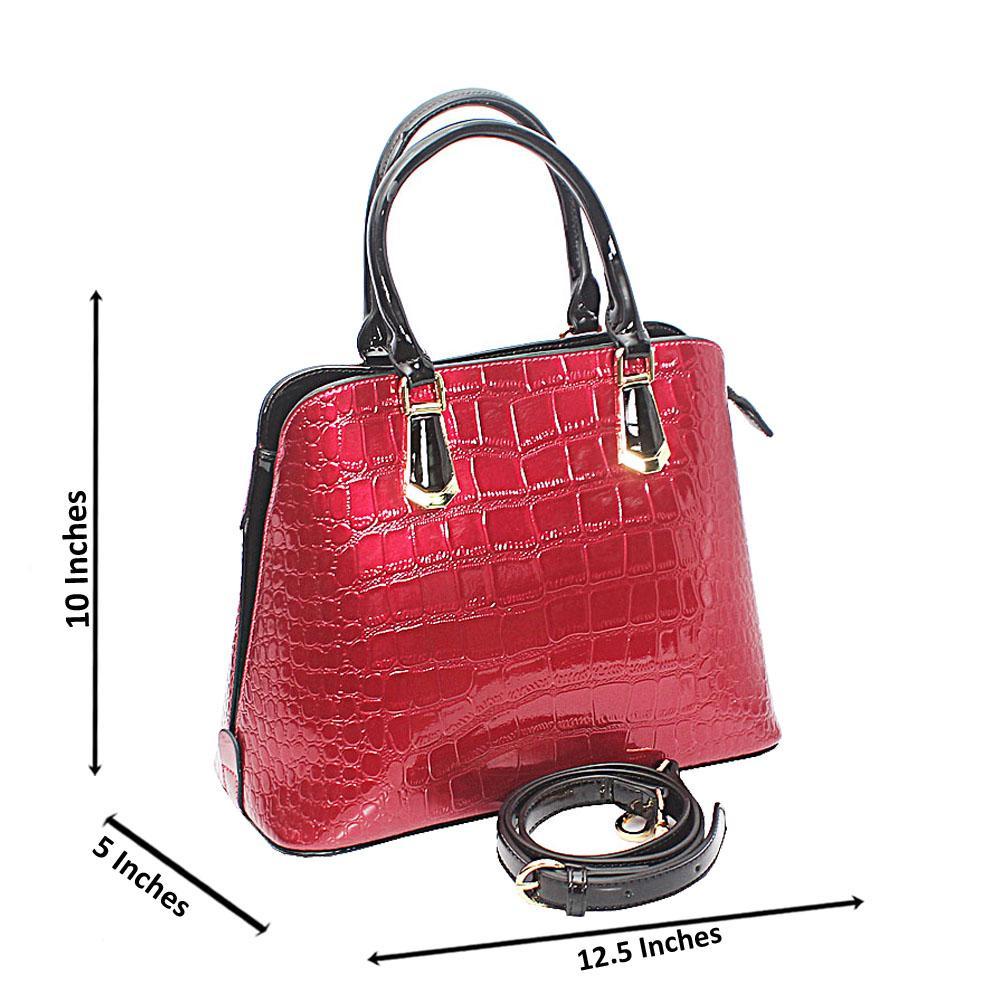 Baizili Patent Wine Croc Style Italian Leather Handbag