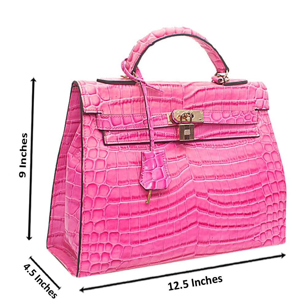 Pink Croc Leather Medium Matte Bag
