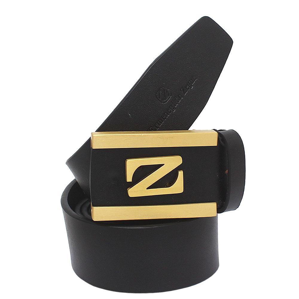 Ermenegildo Zegna Black Classic Leather Men Belt L 43 Inches