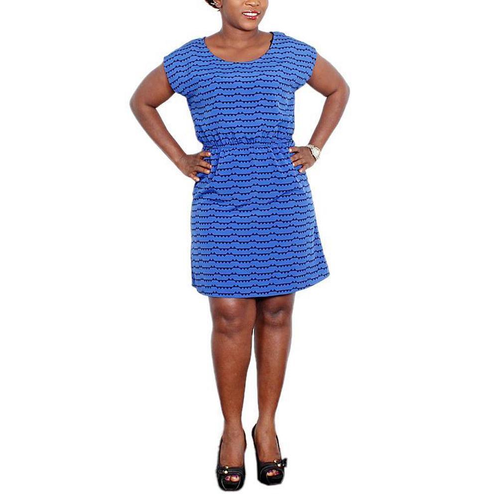 Forever21 Royal-Blue/Black Chifon Ladies Dress-UK8