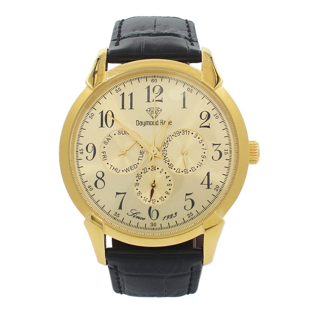 DR 3ATM Gold Black Leather Pilot Series Watch