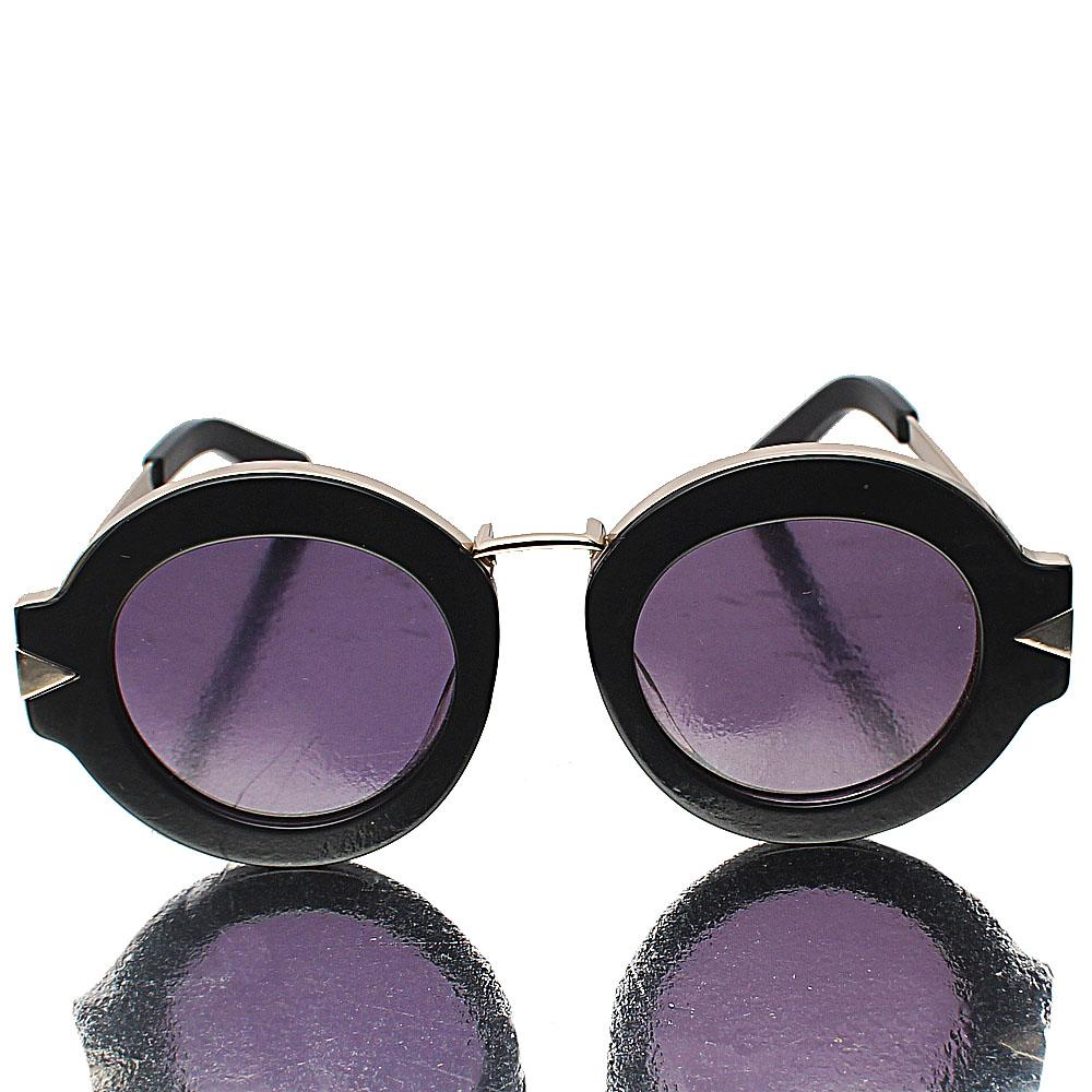 Gold Black Round Face Sunglasses