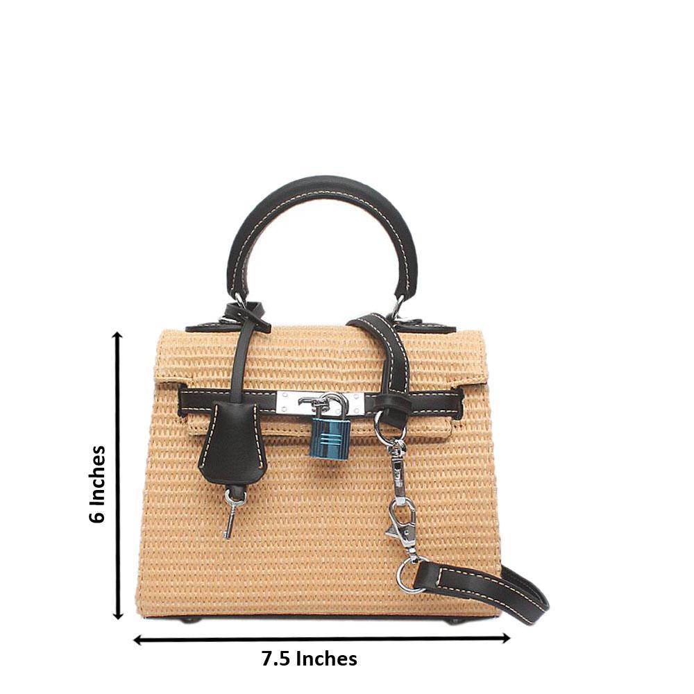 Cream Woven Mini Matte Bag