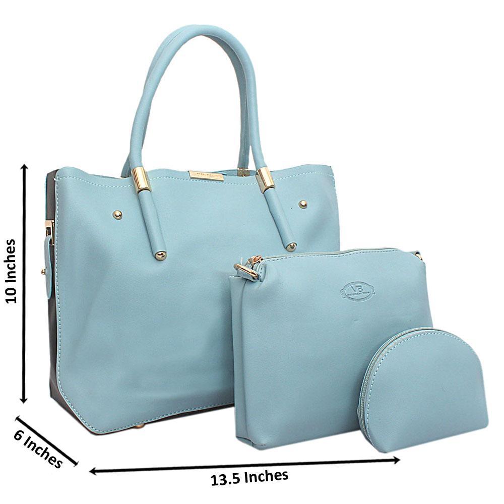 Sky - Blue  Black  Leather 3 in 1 Handbag