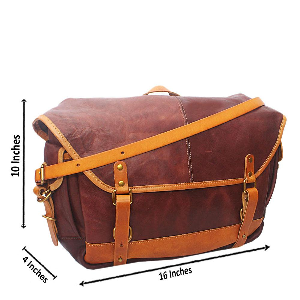 Virtigo Brown Cow-Leather Messenger Bag