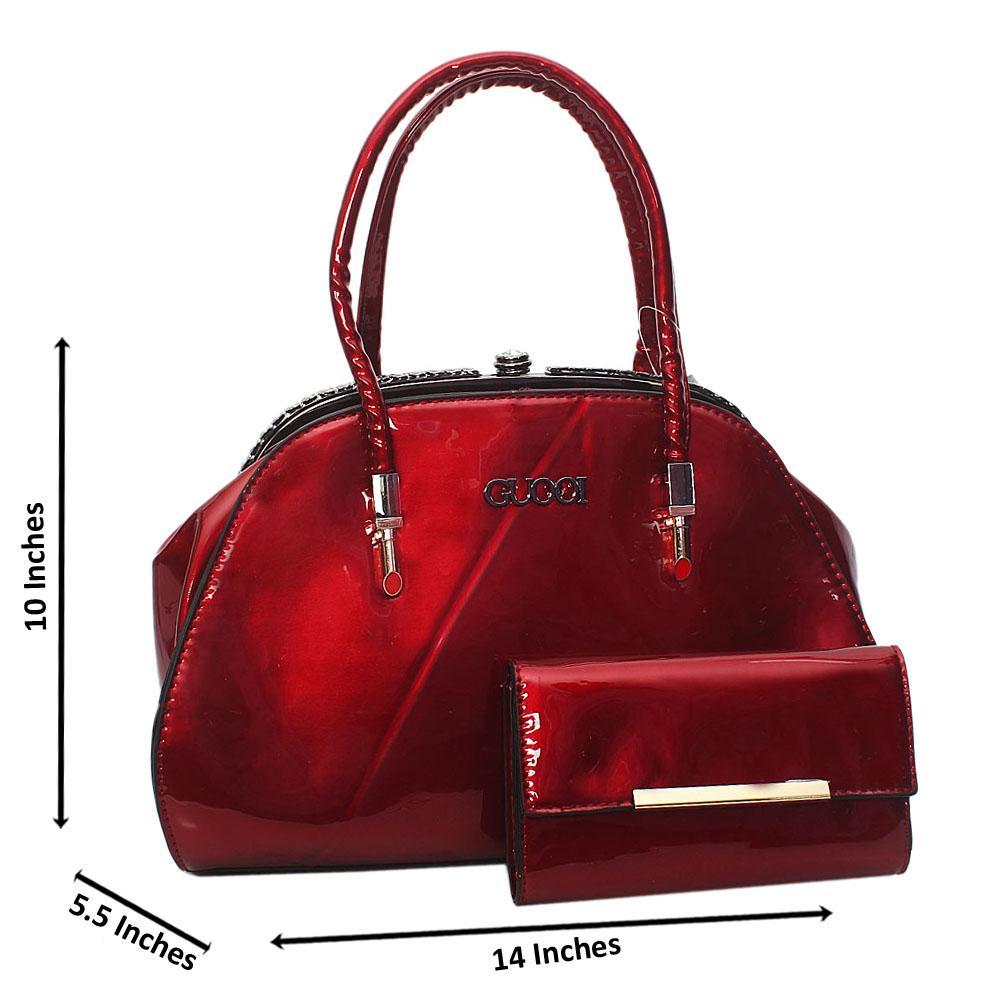 Wine Guool Patent Leather Tote Handbag