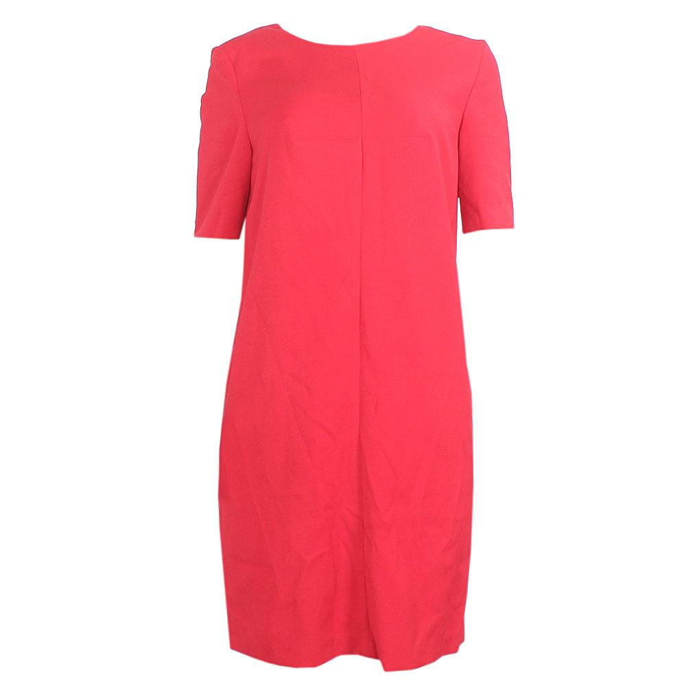 M & S Red Cotton S/Sleeve Tunic Dress