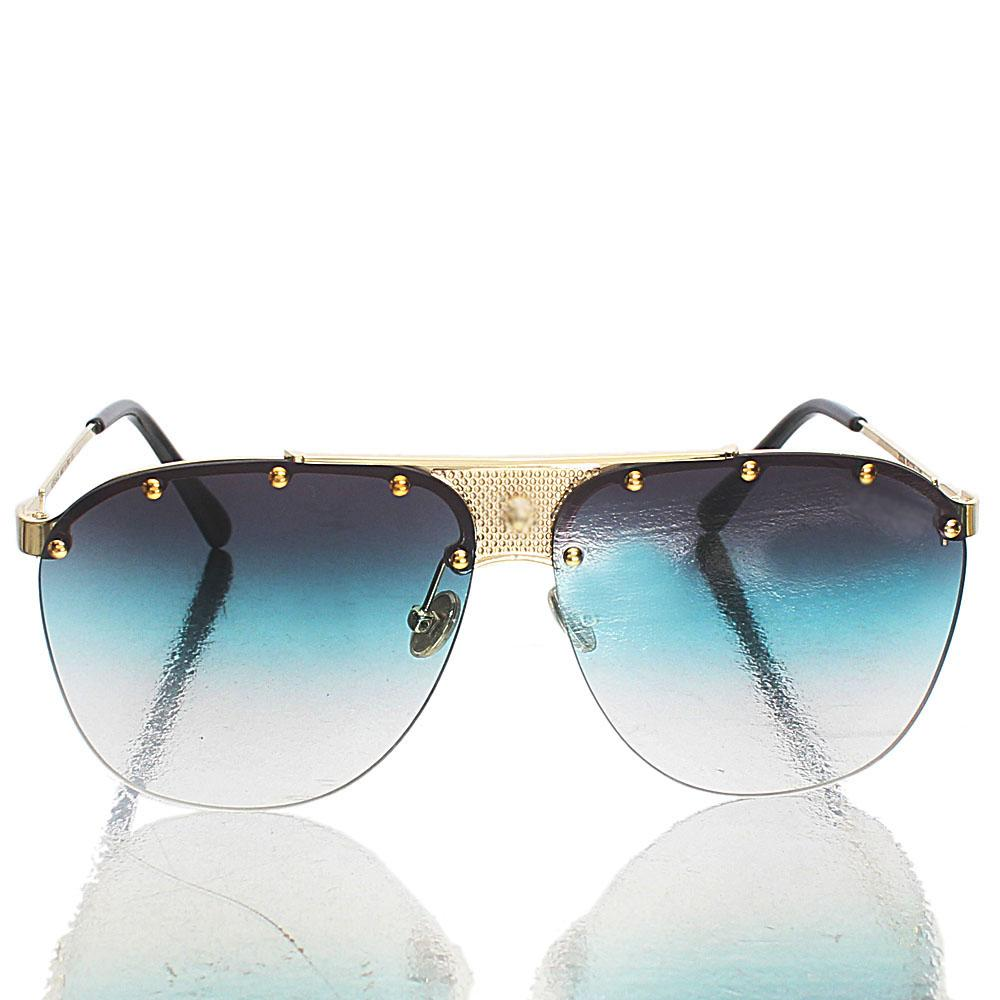Gold Black Green-Transparent Lens Aviator Sunglasses
