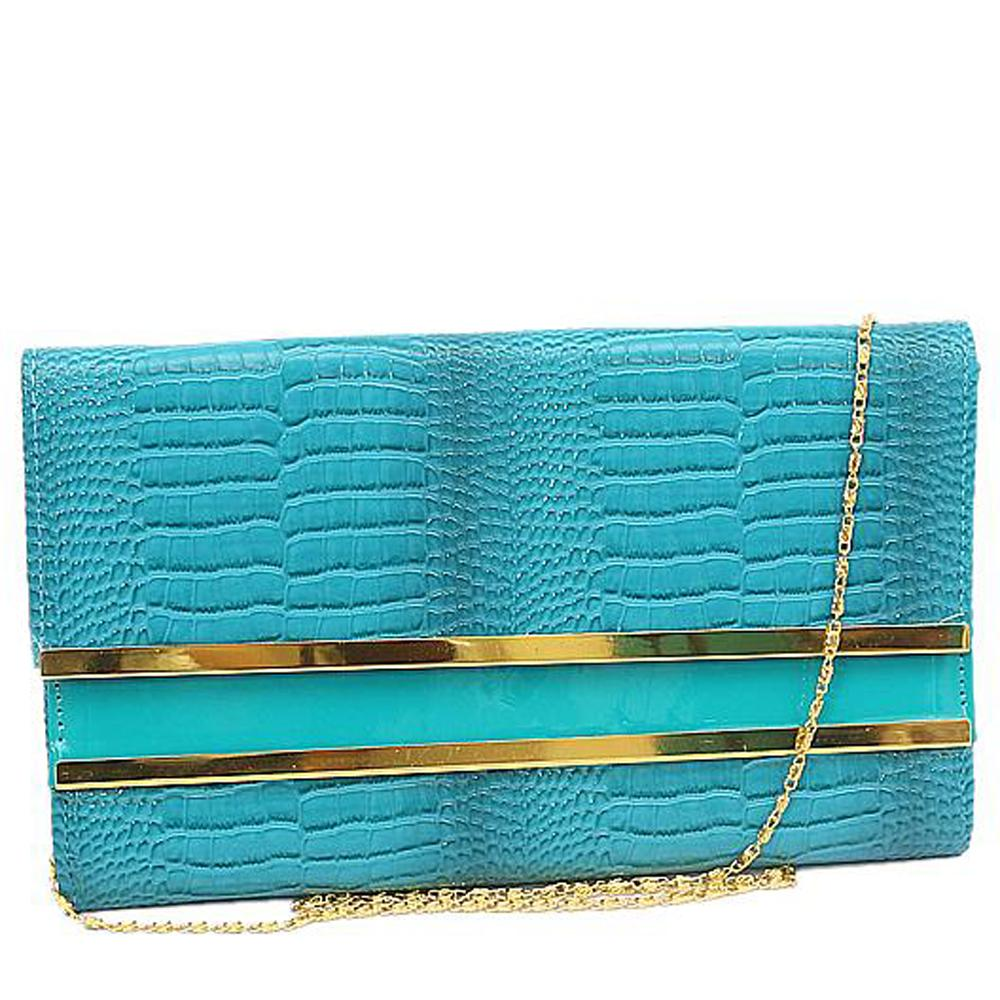 Blue Leather Ladies Clutch Bags