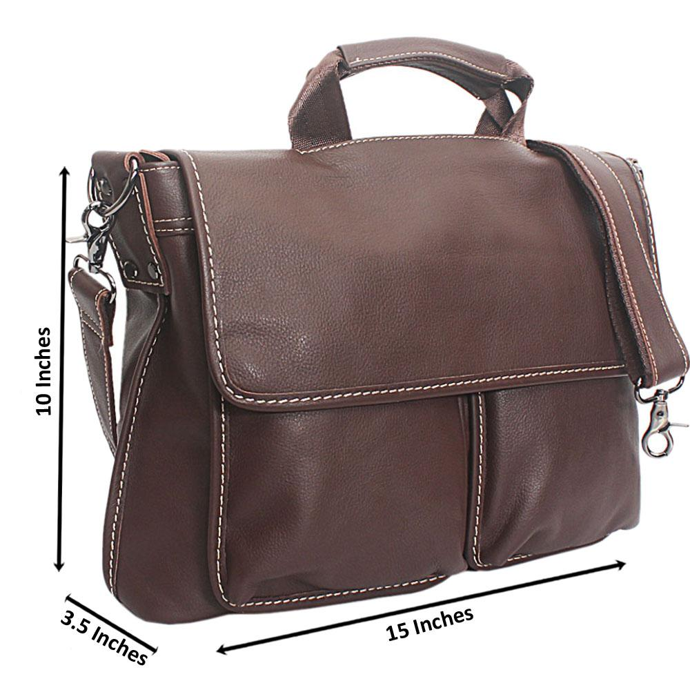 Brown Duo Pocket Cow-Leather Messenger Bag