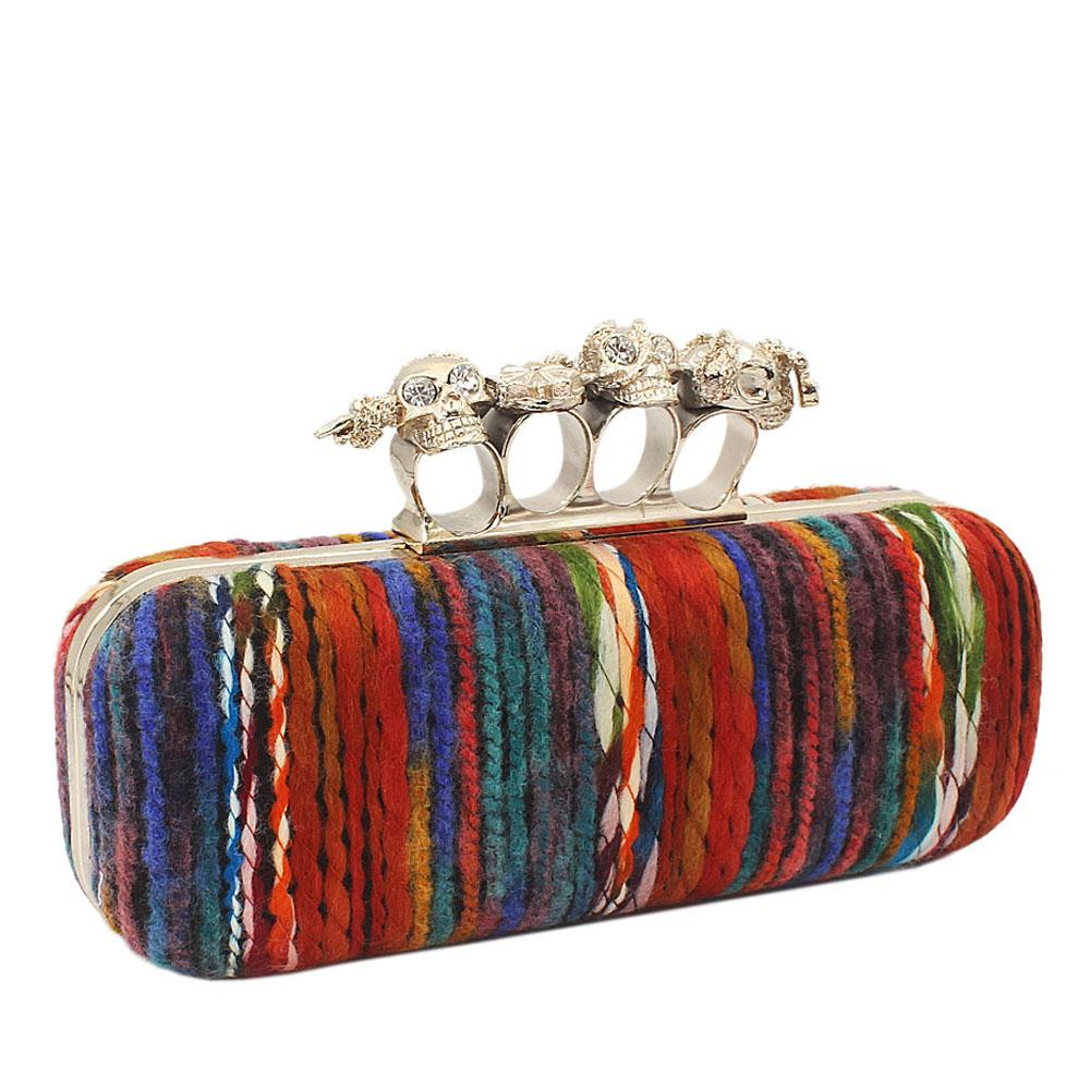 Multicolor Woven Fabric Skull Knuckles Clutch Purse