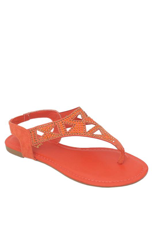 Rouge Orange Leather Studded Ladies Sandal