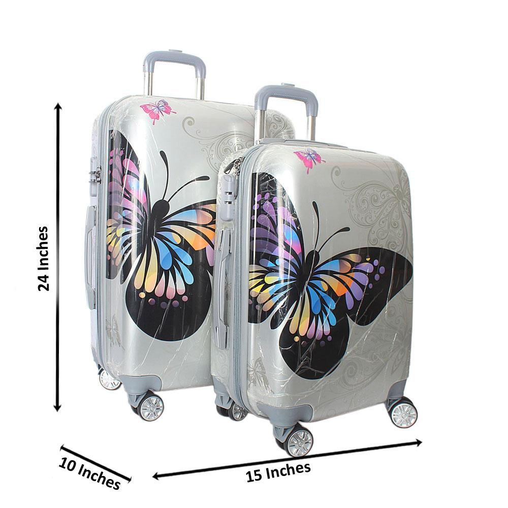 Butterfly 24 inch wt 20 inch 2-in-1 Hardshell Spinners Suitcase Set