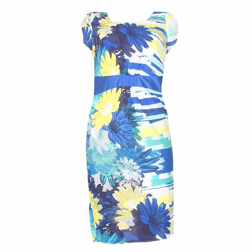 Peruna Yellow/Blue Mix Chiffon Ladies Dress-Uk 14