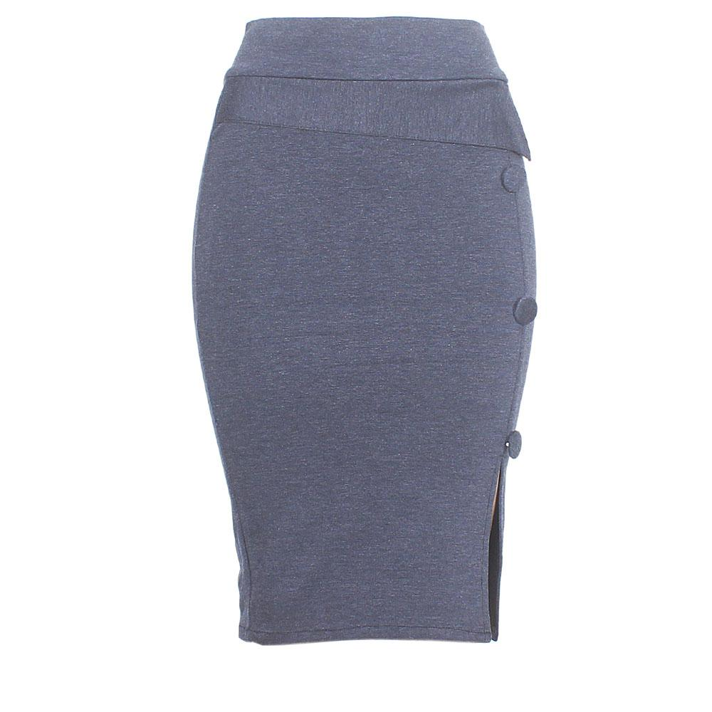Navy Cotton Stretch Skirt